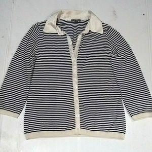 Brooks Brothers Nautical Striped Silk Cardigan